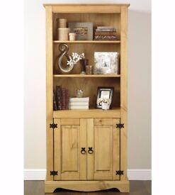 Brand New Corona Merida Display Unit Light Wood Solid Pine Bookcase