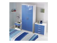 Brand New High Gloss 3-Piece Blue White 2 Door Wardrobe 3 Drawers Chest Bedside Table Bedroom Set