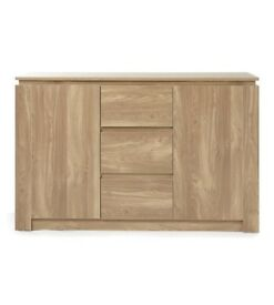 Brand New Montana Wood Effect 3 Drawer 2 Shelves Sideboard - Oak Effect