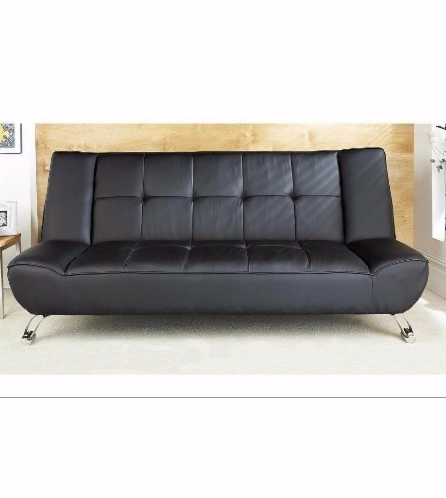 High Quality Riviera 100 Faux Leather Convertible Sleep Solution Sofa Bed With Chrome Legs Brown