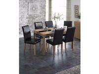 BRAND NEW Luxury Winchester 1+4 Ash Veneer Table & Faux Leather Chairs Dining Set - Ash/Black