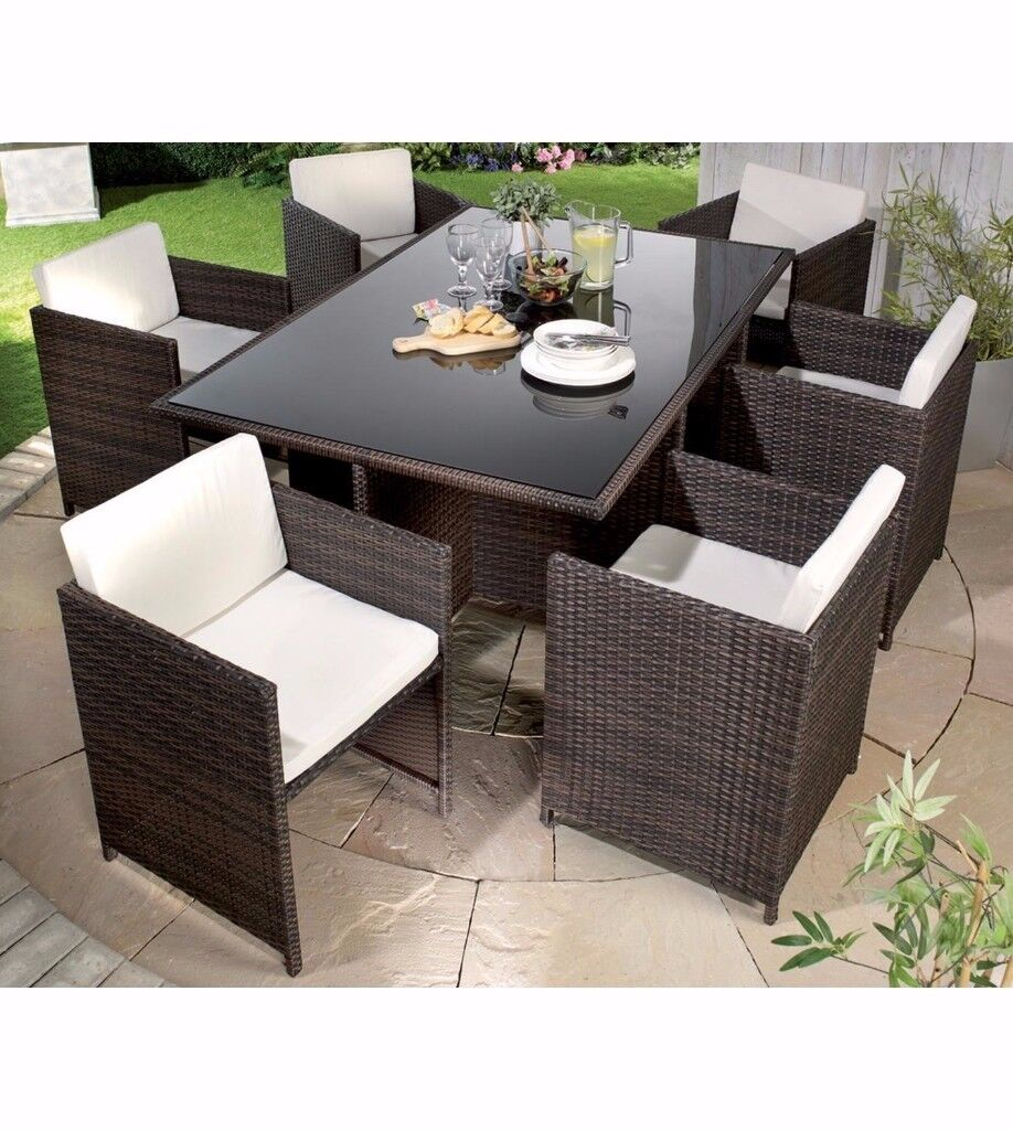 Brand new monaco 7 piece rattan cube dining set natural cream garden table and chairs set