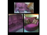 scs purple reclining sofa and cuddle chair