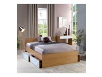 Brand New Carleton WHITE/OAK High Gloss Storage 5FT King Size Bed Headboard 79cm