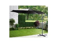 Brand New Cantilever Outdoor Garden Patio Hanging Umbrella Parasol with Crank Mechanism - Black