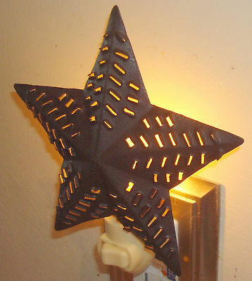 Nice Replica Vintage Rustic Brown  BARN STAR Punched Tin Nightlight