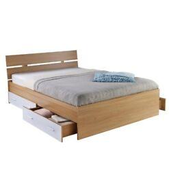 Carleton High Gloss 4 Drawers Furniture 4FT6 Double Storage Bed Frame - White/Oak
