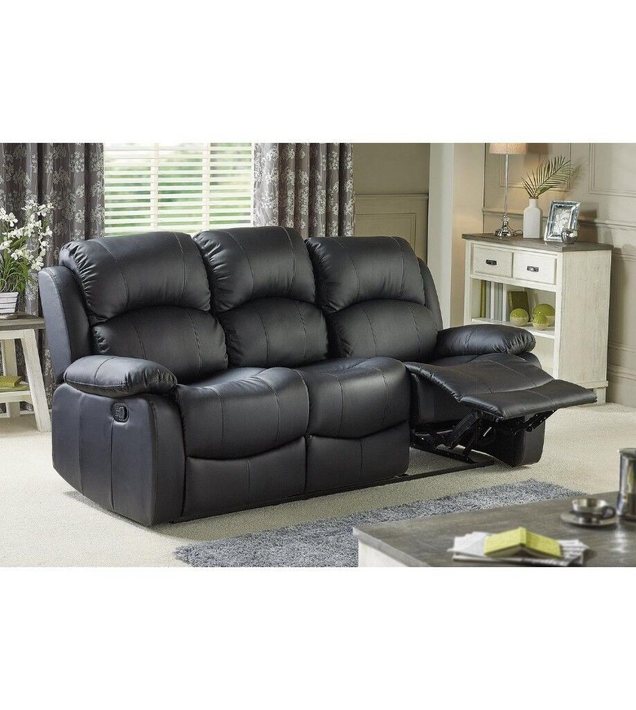 Excellent 3 Seater Recliner Sofa Faux Leather Sofa Black Extremely