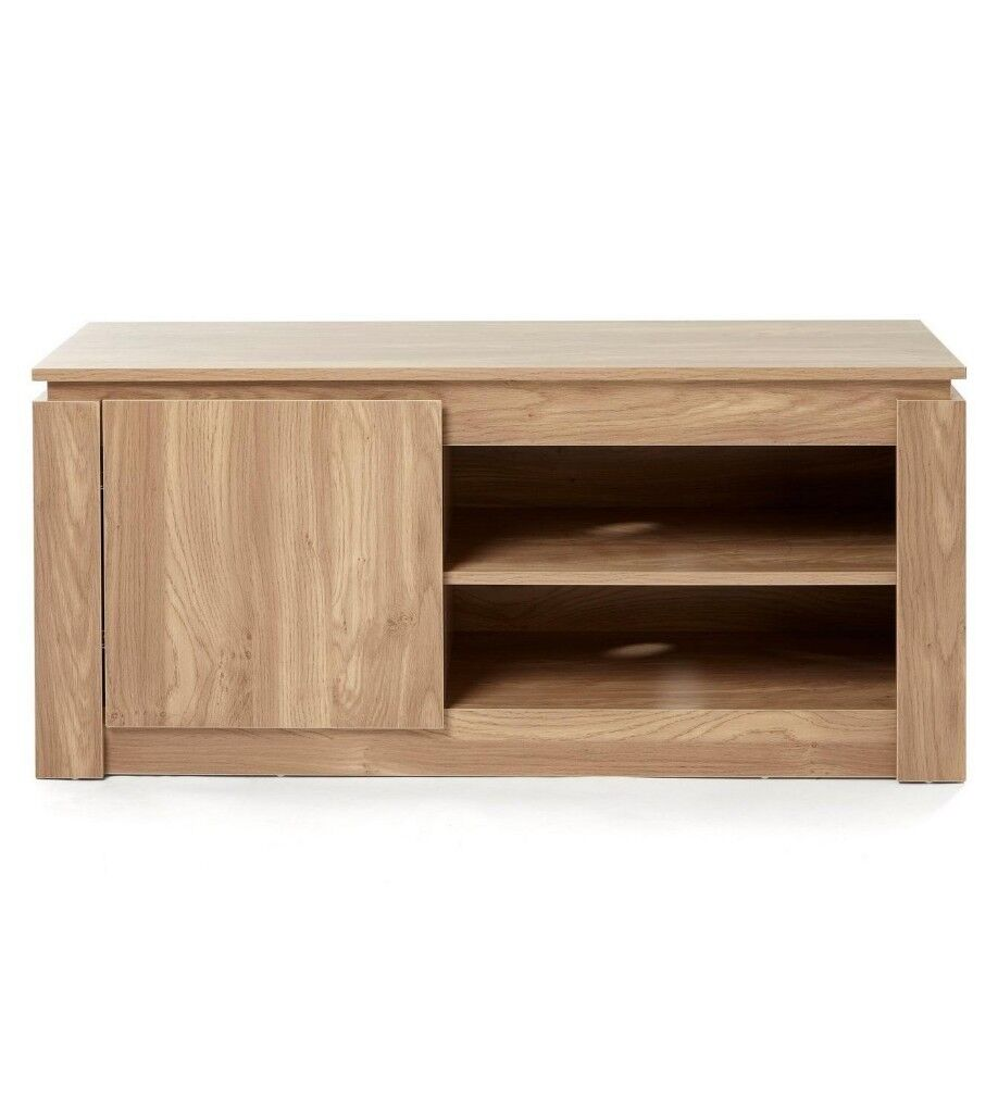 Brand New Montana Solid Wood Effect Tv Dvd Storage Cabinet Unit Oak
