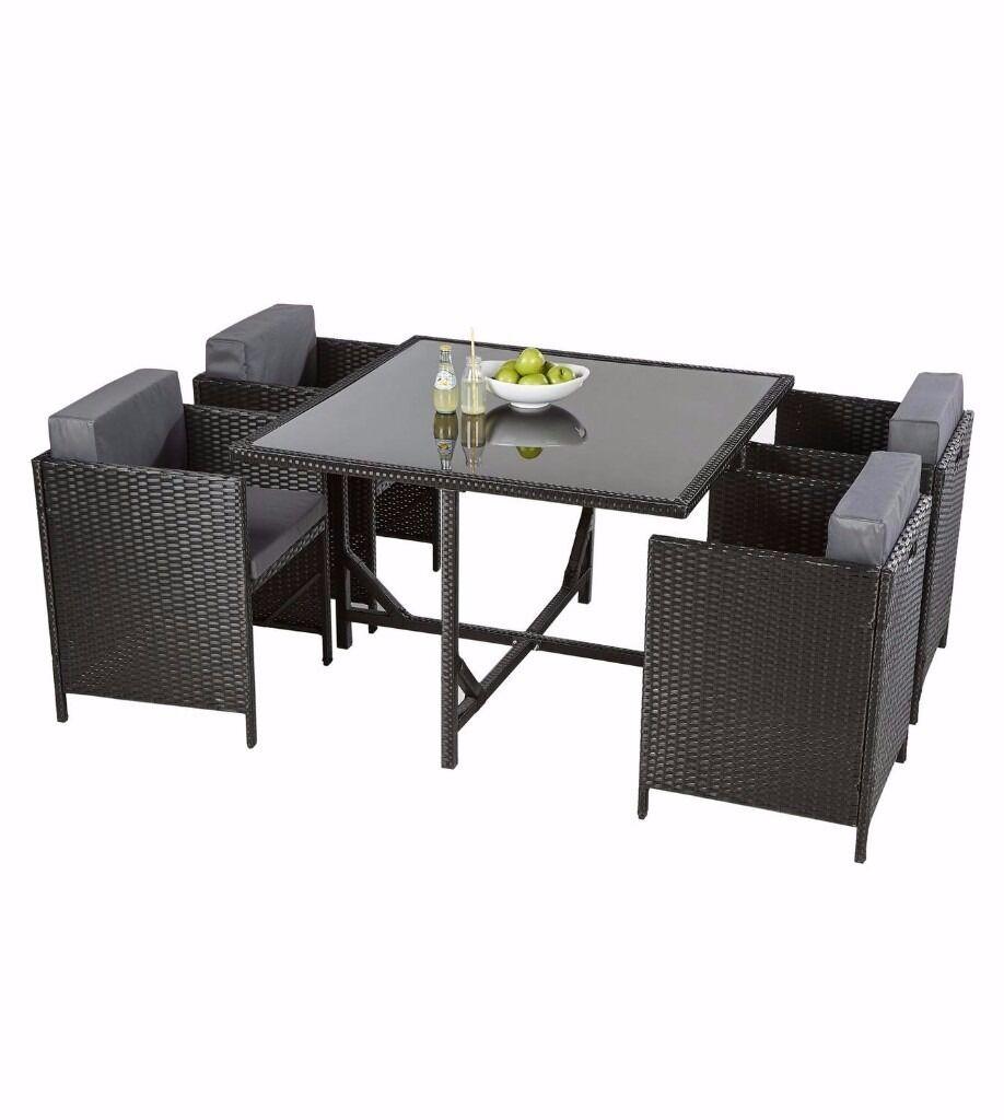 Rattan Garden Furniture Grey Cushions brand new 4 black rattan hideaway cube chairs/grey cushions garden