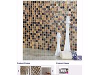 8x Hammered Beige Mix Glass Mosaic tiles 305x305mm
