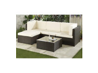 Brand NEW! Medium Rattan Brown Corner Sofa Coffee Table Cream Cushions Outdoor Garden Furniture Set
