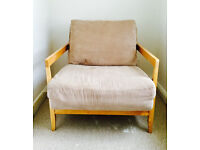 Single Seater Beige Birch Sofa Bed (Futon Company) VGC