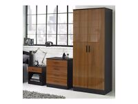 MANY COLOURS ** Quality 3 Piece High Gloss Bedroom Set Wardrobe Chest Bedside Cabinet