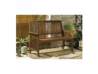 Refurbished Camillion Solid Wood Garden Bench Dark Wood