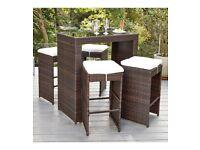 Brand New 5 Piece Milan Rattan-Effect Outdoor Garden Furniture Bar Set - Brown/Cream