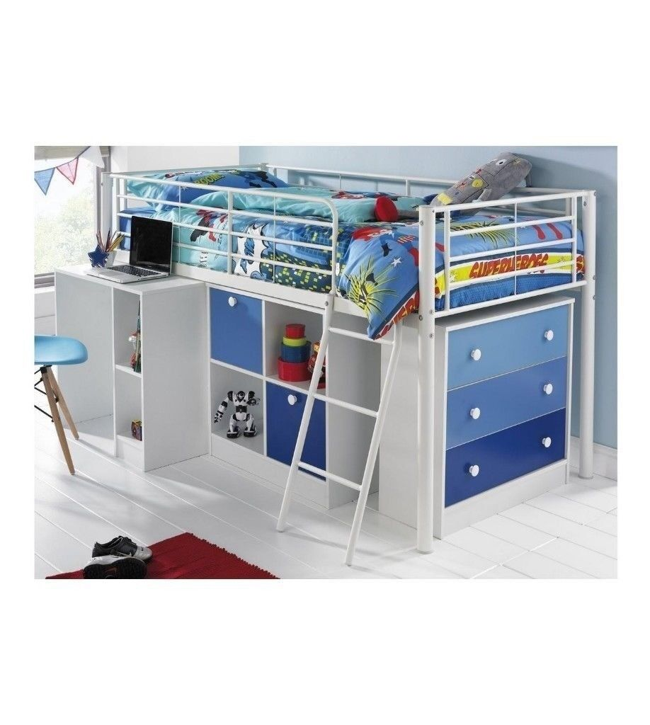 Brand New Mezzo Sleep And Storage Solution Midsleeper Single Bed 3ft With Ladder Blue