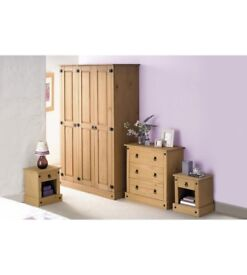 Brand New Mexican 4 Piece Light Wood Pine Wardrobe Chest Two Bedside Table Bedroom Set