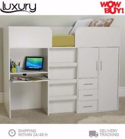 Brand New Best Buy! Childrens Multi-Bunk Beds With Study Desk & 3 Drawers at BEST PRICE
