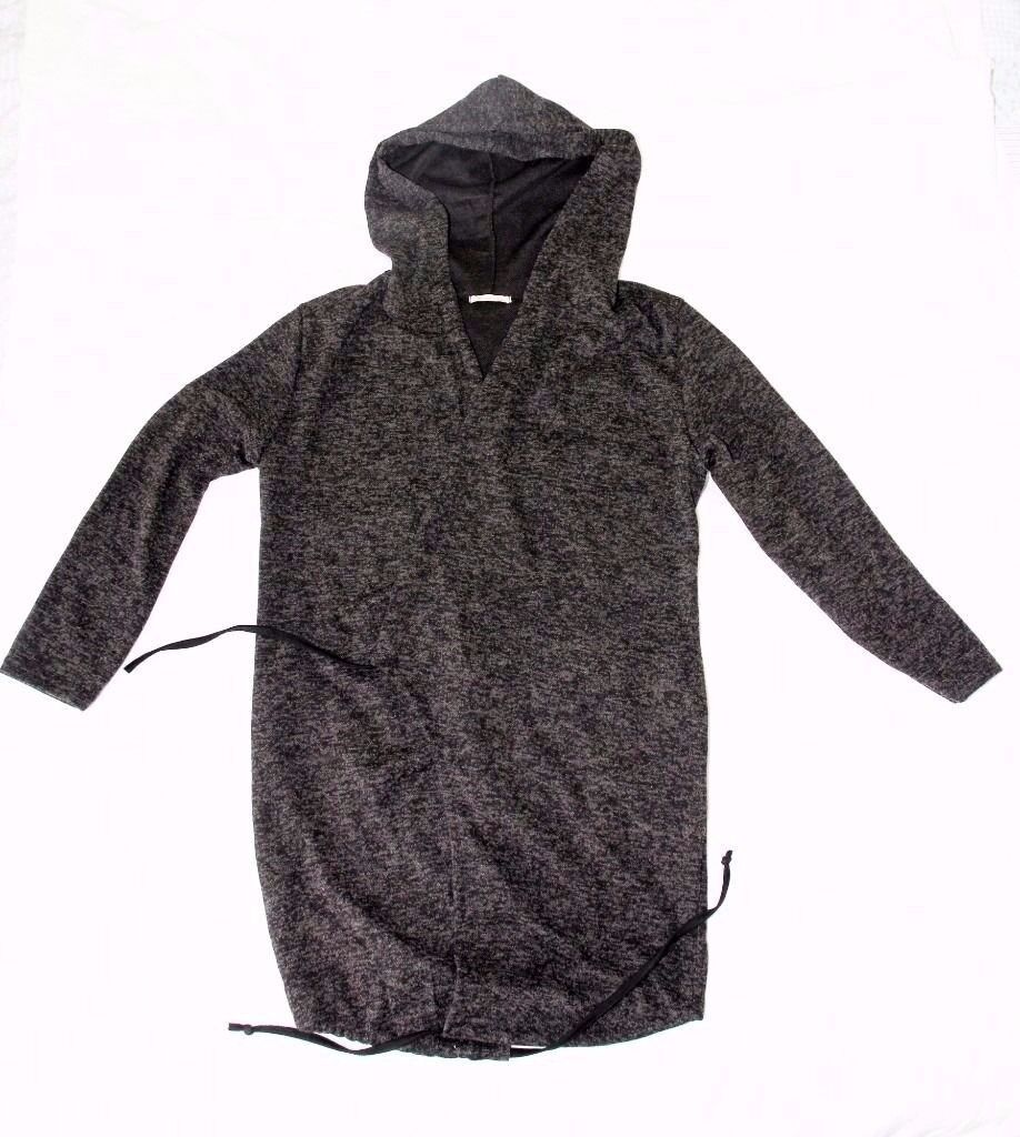 Stylish Ladies Hoodie UK Size 12 - 16 in Dark Grey with Sleeves and Round Tie - NEW! Never been worn