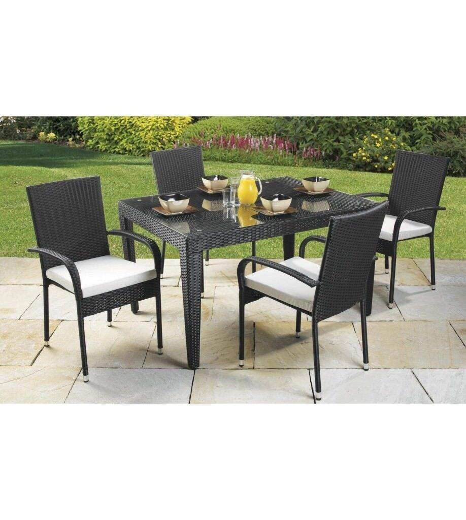 BRAND NEW 5 Piece Rattan Garden Outdoor Furniture Black ...