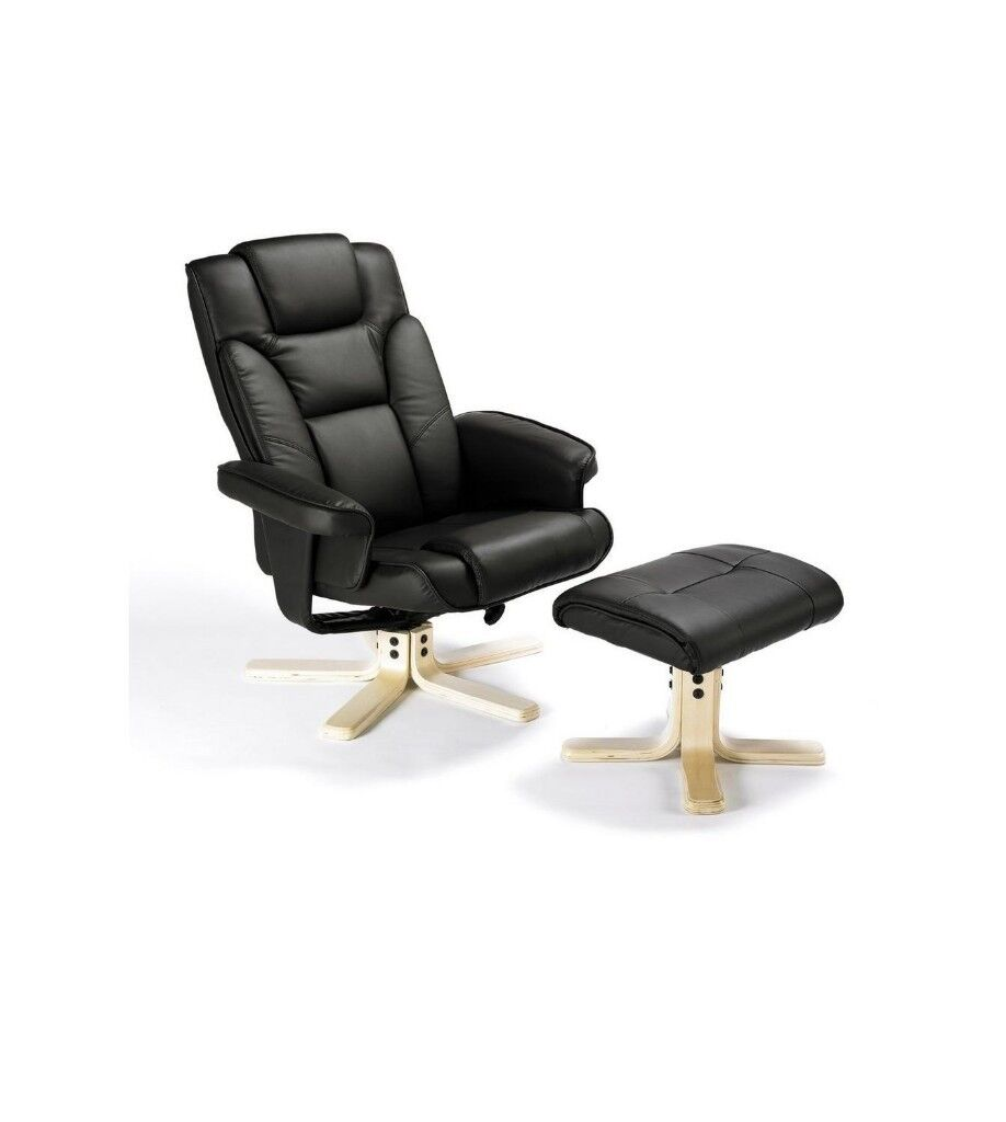 Brand New Boston Faux Leather Swivel Recliner Chair Stool Armchair Home Office