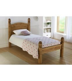 Brand New Corona King Size Mexican Style Low Foot End Solid Pine Wooden Bed Frame