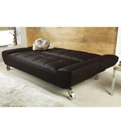BRAND NEW RIVIERA 100% Faux Leather Convertible Sofa Bed With Chrome Legs - BROWN