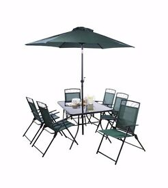 Brand New 8 Piece Patio Set 6 Chairs,table,parasol