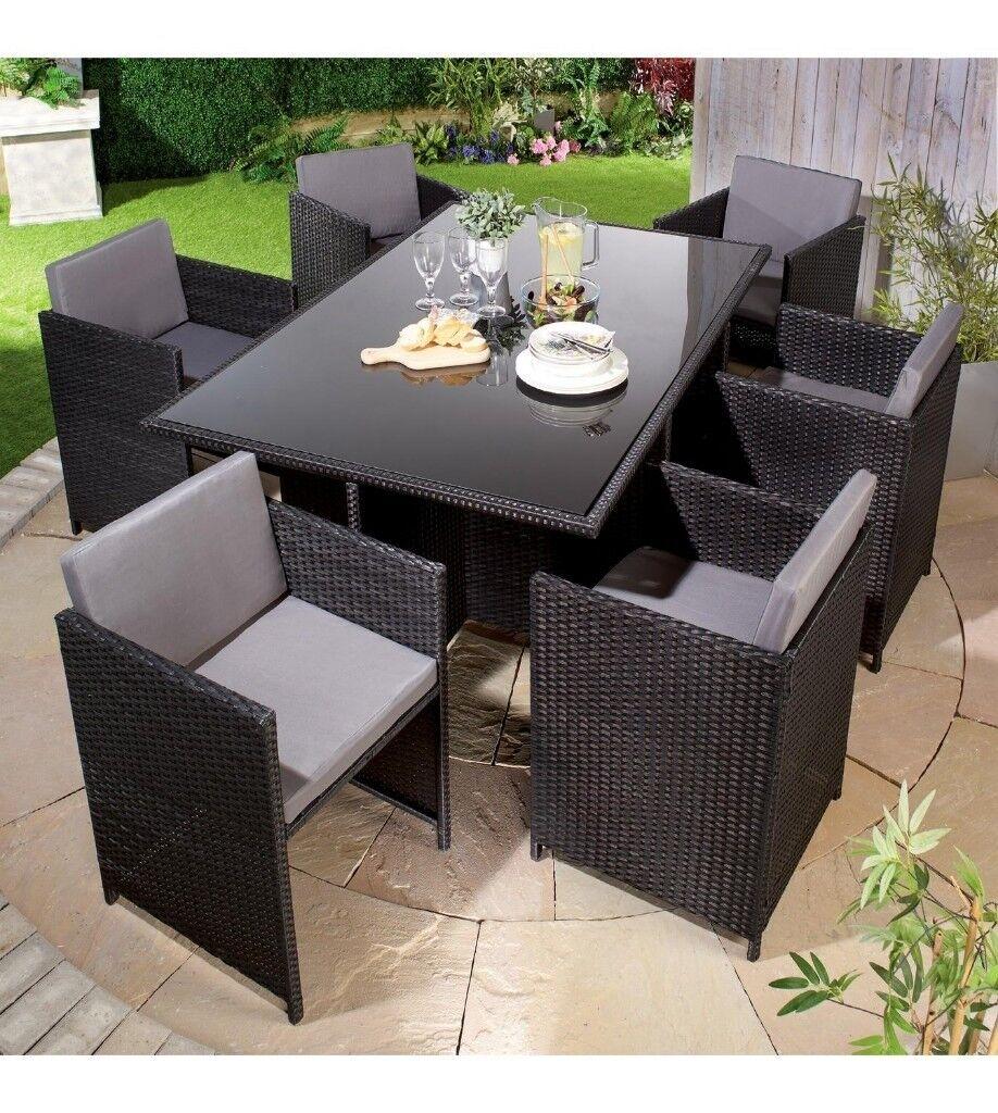 Brand New Monaco Black/Grey 7 Piece Rattan Garden Patio Dining Set