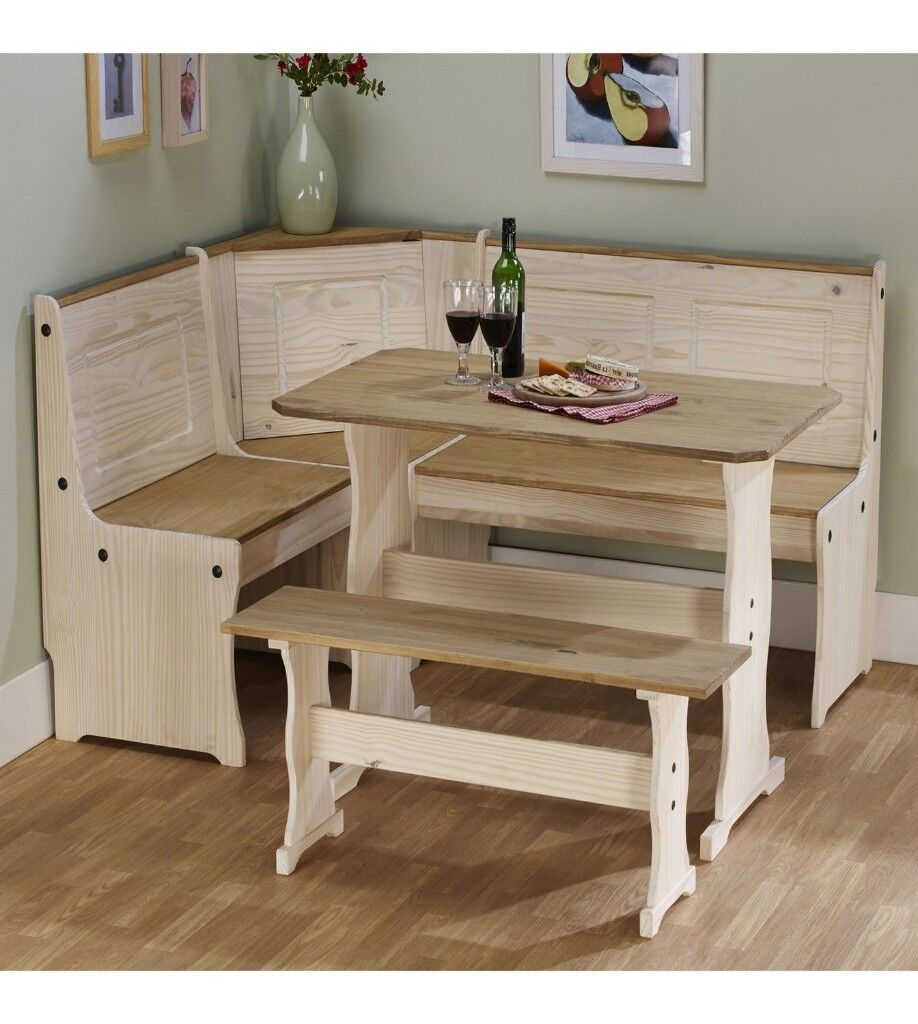 Gentil Brand New Rustic Solid Pine Corner Bench Seat Up To 6 People Wooden Dining  Set