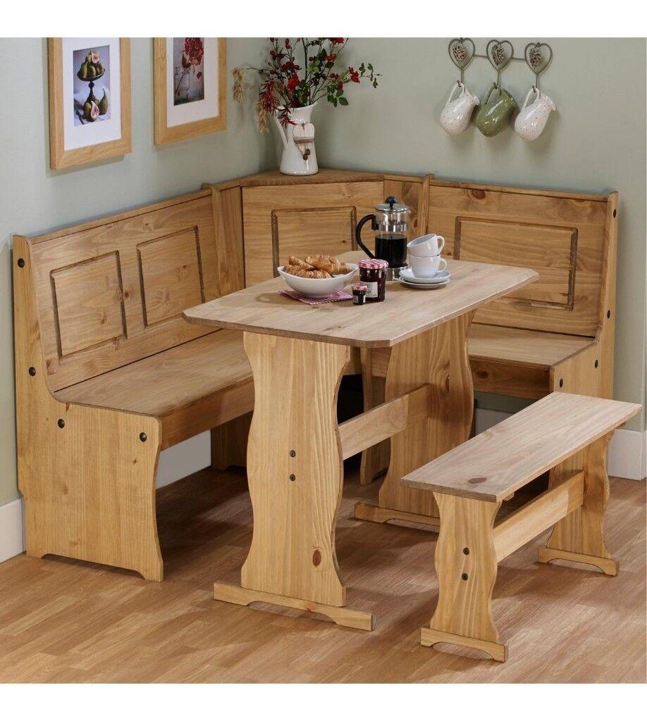 Brand New 6 People Corner Wooden Bench Kitchen Solid Pine Dining Set   Pine