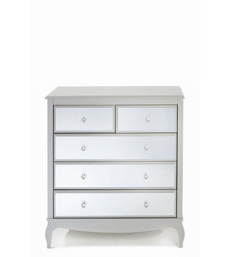 Brand New Amelie Mirrored 2+3 Drawer Chest Storage Cabinet Furniture   Grey