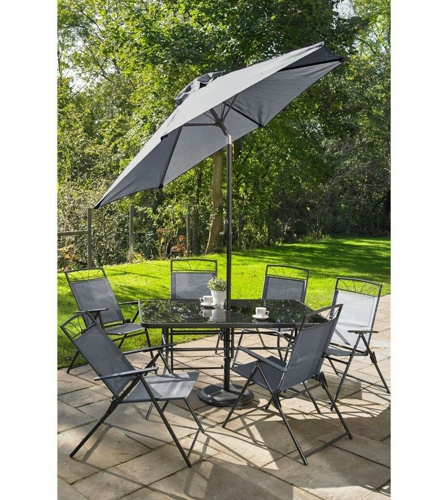 Merveilleux Brand New 8 Piece Dining Table 6 Chairs With Parasol Garden Outdoor Patio  SET   Grey