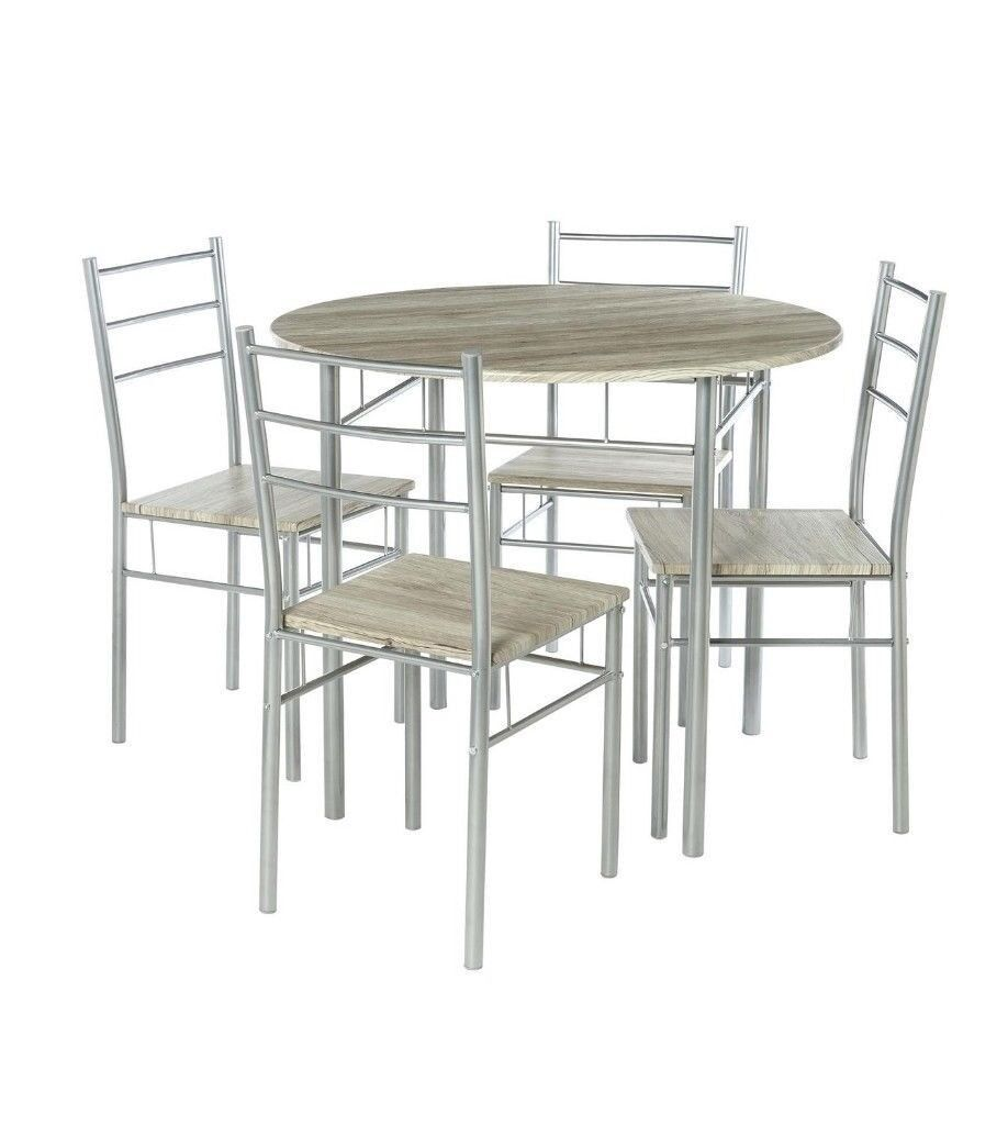 Brand New Space Saving 5 Piece Round Table With 4 Chairs Kitchen Dining Set    Light Wood