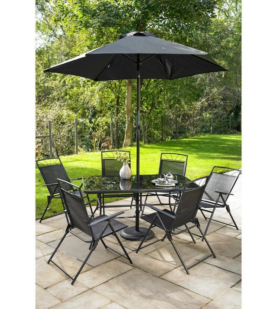 Brand New Kent Garden Outdoor 8 Piece Armchair Table And Parasol Dining  Patio Set   Black