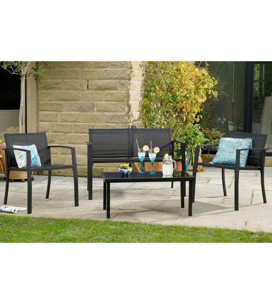 Brand New Havana Coffee Table 4 Piece Textilene Garden Furniture Outdoor  Lounge Set   Black