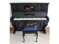 Black upright piano - beautiful condition