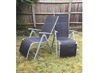 RECLINING SUN CHAIRS (black/grey in fantastic condition)