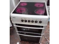 Beko BDC643W 60cm Double Cavity Electric Cooker With Ceramic Hob silver