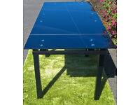 Ex-display Space Black Glass Extending Dining Table.