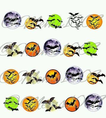 Halloween nail Art (water decals) Bat And Moon Nail art (Bat Halloween Nail Art)