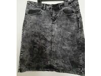 Noisy May washed grey denim skirt