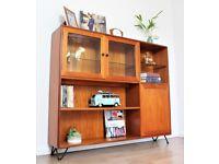 Vintage Retro G Plan Bookcase Sideboard Teak Skandi Shelving Hairpin Legs