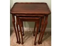 Table nest of tables wooden mahogony wood side occasional lounge coffee dining room
