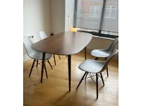 Mid-century style table with set of 4 Eames style chairs