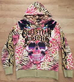 "Brand new authentic Christian Audigier men's luxury ""Skull Panther"" designer hoodie. Large"