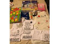 Baby bundle clothes, fetal Doppler, dummies, mobile
