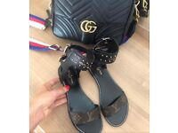 WOMENS LV BROWN LEATHER SANDALS