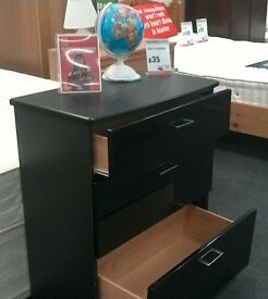 Black 3 drawer chest of drawers - British Heart Foundation